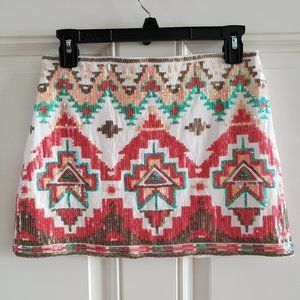 VERTY Multicolor A Cut Sequined Womens mini skirt